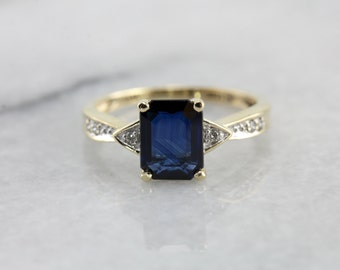 Sapphire Ring in Yellow Gold, Diamond Accented Sapphire Solitaire 3MKWJ5-D