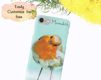 Spring iPhone Case, Bird Phone Case, Robin Blue Orange, Gift for Her, Custom Phone Wallet, Iphone 6 7 Plus, Samsung Galaxy Case, Cute Cover