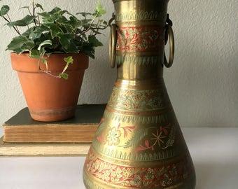 Vintage Indian Brass Vase / Engraved and Painted Ornamental Vase / Decorative Gold Vase