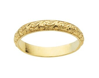 Gold-Filled Patterned Band - 12/20 gold filled - Textured Scrollwork design - Size 6, 7 , 8 - Stackiing Rings - wedding band