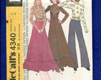 1970's McCall's 4340 Western Victorian High Collar Blouse & Flared Tiered Skirt Size 12 UNCUT