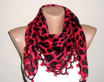 black red leopard scarf wrap cotton scarf turkish scarf yemeni scarf oya scarf woman accesories gift for her