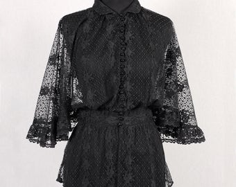 1980s Vintage black lace blouse
