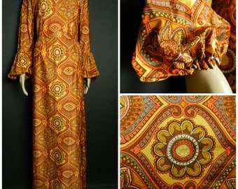 60s 70s ultimate bohemian maxi dress balloon sleeves orange grey brown + gold geometric psychedelic print u.k. 12 - 14 M