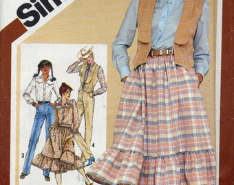 Western style gathered waist skirt, pants, lined vest, shirt - vintage 80s, Simplicity 9851, Misses 12