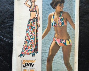 Vintage 1970s Bikini and Wrap Tie Skirt Pattern // Simplicity 5644, size 12-14 > Super Jiffy Easy > bathing suit, swimwear, beach