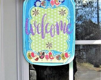 Mason Jar Welcome Sign * Door Decor * Wall Decor * Burlap Bow Flowers Birds * Pink Polka Dot Teal Purple Green * Shabby Chic Living Room
