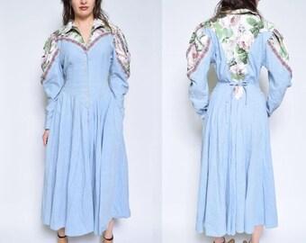 Vintage 80's Light Blue Floral Maxi Dress / Long Sleeve Floral Maxi Dress / Big Shoulders Button Dress / Pleated Maxi Dress- Size Medium