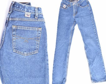 Vintage 90's  Blue Denim Jeans / Low Rise Blue Jeans/ Straight Leg Jeans / Grunge Blue Jeans