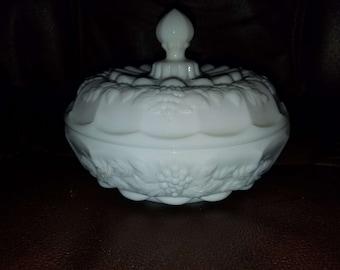 Vintage Milk Glass Covered Dish