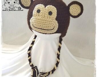 Monkey Earflap Beanie - PDF Crochet Pattern - Instant Download