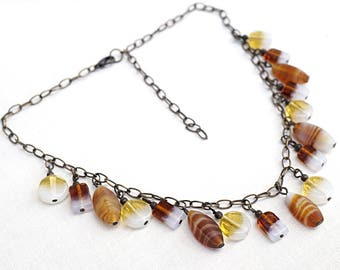vintage 70s necklace artisan Glass Charm necklace Chain Bib necklace Amber Brown Yellow White Multi Color necklace retro eco friendly gift
