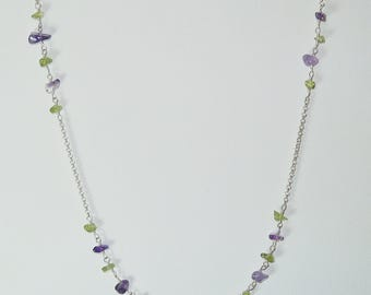 Dainty Silver Chain Necklace with Peridot and Amethyst Stone Links