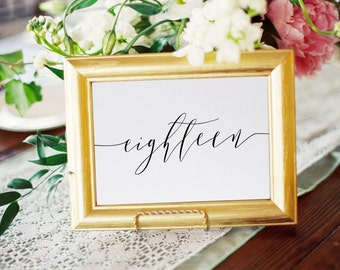 Calligraphy Table Numbers, Script Wedding Table Numbers, 4x6, 5x7, tented, folded