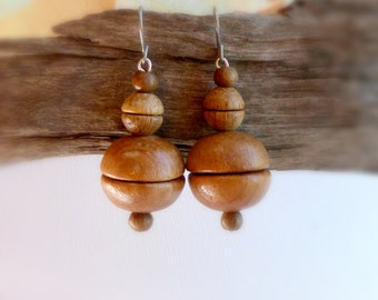 Bold wooden bead dangling earrings , African mahogany wood earrings , Wood jewelry gift for her