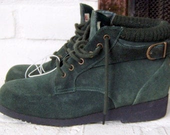"""Forest Green Suede Booties, Forenza 1980's """"It"""" shoe"""