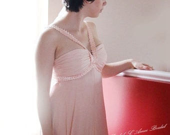 Floor Length Sweatheart Neckline Chiffon Bridesmaid Wedding Prom Dress Evening Gown with Inboard Straps in Dusty Rose