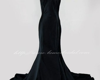 Black Goth Mermaid Style Fitted Sweetheart in Black Satin Wedding Bridal Dress with Thin shoulder strap  and Train - Mother of bride