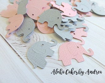 Elephant Confetti, Baby Shower Decorations, It's A Girl Baby Shower, Pink and Gray Elephant Die Cut, Shower Ideas, Set of 100