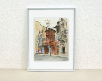 Moulin Rouge painting. Moulin Rouge in Paris painting. Paris, France painting. Watercolor painting. Original. 8x10