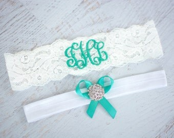 Garter Belt for Bride | Turquoise Garter | Aqua | Lace Garter | Monogrammed Garter | Personalized Garter | Tiffany