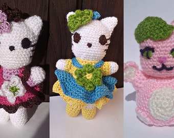 Hello Kitty,gatto con capello,Bambola giocattolo morbido amigurumi,creato a mano  all'uncinetto