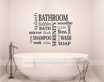 Bathroom Wall Decal Etsy - Vinyl vinyl wall decals bubbles