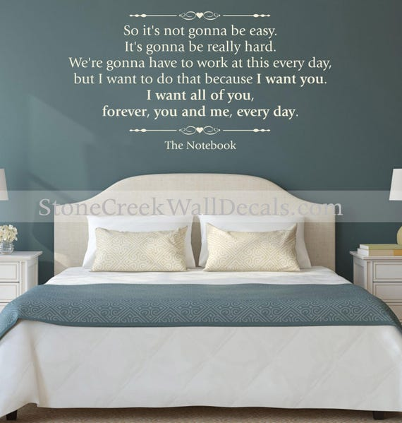 Wall Decal - For the Notebook - Wall Quote by StoneCreekWallDecals