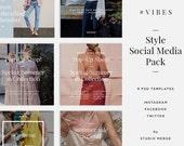 V I B E S | 9 Stylish Social Media Templates | PSD Format | Banner Graphics | PSD | Easy to Use