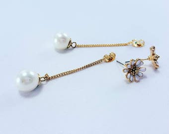 Synthetic Gemstones Daisy Pearl Dangle Earrings Gold Earring Silver Earrings Drop Earrings Bridal Bridesmaids Wedding Jewelry Gift for Women