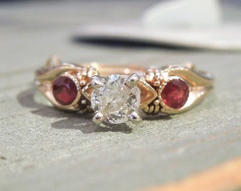 Third of a Carat Diamond and Ruby Ring in Yellow Gold