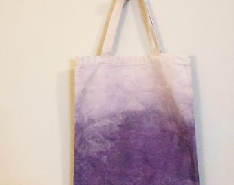 Purple gradient tote bag, purple reusable bag, ombre cotton tote bag, hand dyed tote bag, dip dyed bag, naturally dyed tote