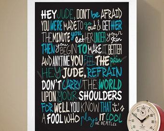 The Beatles - Hey Jude Print, Song Lyrics Print, Music Poster, Song Lyrics