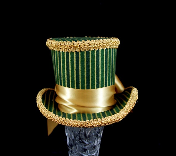 Green and Gold Striped with Bow Minimalist Medium Mini Top Hat Fascinator, Alice in Wonderland, Mad Hatter Tea Party, Derby Hat