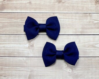 Small Navy Blue Hair Clips, Small Navy Blue Bows, Small Blue Bows, Small Hair Bows, Baby Clips, Navy Blue Bow Hair Clips, Blue Pigtail Bows