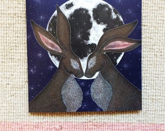 Moon Hares Greetings Card