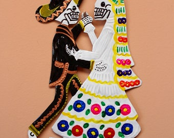 La Catrina Wedding- Handmade Mexican Tin Wall Hanging- Fiesta- Day of the Dead- Gothic- Colorful Wall- Mexican Folklore- Punched Tin Art