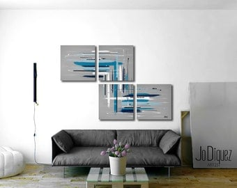 "Original abstract painting. 4 piece canvas art. 64x42"" Large painting. Contemporary. Huge modern wall art. Unique living room painting"