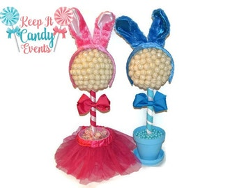 Easter Bunny Lollipop Topiary, Easter Gift, Easter Candy, Blue Boys Easter Bunny Gift, Easter Basket, Girls Easter Bunny centerpiece