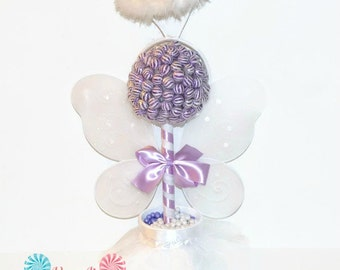 Purple and White Lollipop Angel Topiary, Purple Christening Centerpiece, Angel Candy Centerpiece, Purple Baby Shower Decor, Angel Candy