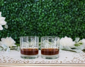 Personalized Whiskey Glasses - (Set of TWO) Custom Engraved Scotch Glasses - Personalized Wedding Gift - DOF Glass Couples Engagement Gift