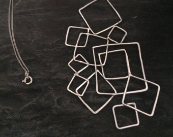 Statement Silver Pendant, Geometric Pendant, Handmade Pendant, Modern Silver Pendant, Unique Silver Pendant, Large Silver Pendant Necklace