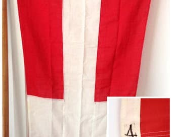 Vintage Nautical Military Signal Pennant Flag #4, HMAS Melbourne, Red and White Cross, Coastal Home