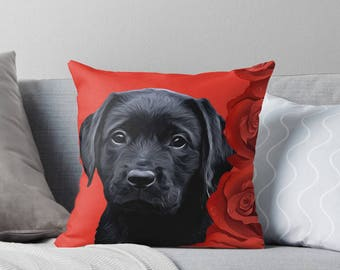 Black Lab Pillow 4BMV - Labrador Pillow - Throw Pillow - Black Lab Decor - Black Lab Gifts - Outdoor Pillow - Dog Pillow - Black Lab Art
