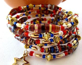 Beaded Bracelet, Beaded Bracelets, Handmade Bracelets, Paper Bead Bracelets, Adjustable Bracelets, Paper Bead Jewelry, Layered Bracelets
