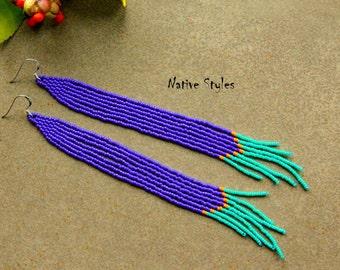"""6""""Royal Blue Beaded Shoulder Duster Earrings~Long Beaded Earrings~Long Bohemian Cobalt Blue Turquoise BOHO Seed Bead Earrings~Sterling 925"""
