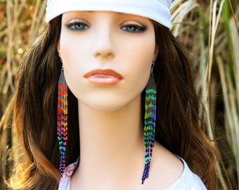"""7""""Unique Mix and Match Earrings,Grizzly Rooster Feather~Extra Long Rainbow Earrings~Tie Dye Bead~Hippie Earrings~Mix and Match~Gay Pride"""
