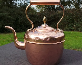 Copper Kettle French Made Bouloire, Vintage Copper Arab Quarter Retailer Brass Mounts Copper Handle Tinned Interior Fully Water Tight