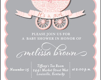Baby Shower Invitation , Pink Baby Carriage, Invitation, Baby Carriage, It's a Girl, Stroller, Girl Baby Shower, Baby Sprnkle, Printable