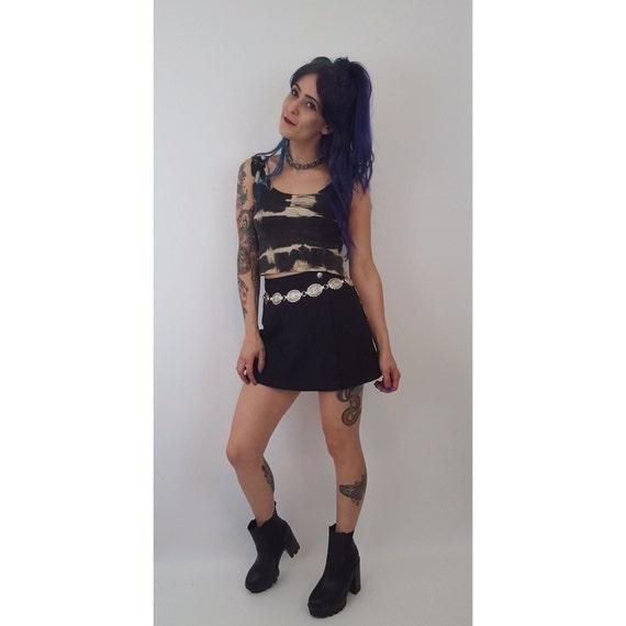 90s Vintage Black Mini Skort - Small Miniskirt Shorts - 1990s Fashion Shorts Under Mini Skirt - Classic Basic Grunge Style Denim Wrap Skirt